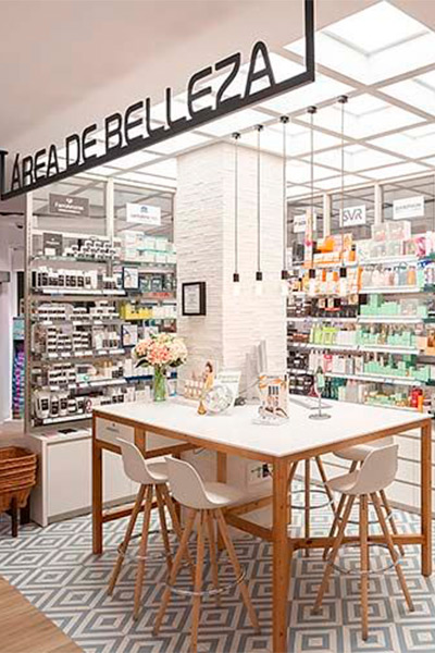 Área de belleza en farmacia